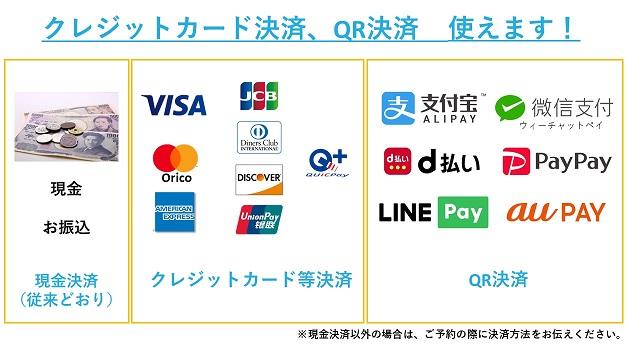 クレジットカード、QR決済使えます!決済一覧表